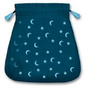 Moon and Stars Dark Blue Velvet Tarot Bag